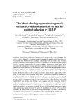 "Báo cáo sinh học: ""The effect of using approximate gametic variance covariance matrices on marker assisted selection by BLUP"""