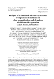 "Báo cáo sinh học: ""Analysis of a simulated microarray dataset: Comparison of methods for data normalisation and detection of differential expression (Open Access publication)"""