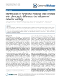 "Báo cáo y học: "" Identification of functional modules that correlate with phenotypic difference: the influence of network topology"""