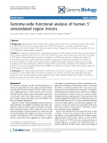 """Báo cáo y học: """" Genome-wide functional analysis of human 5' untranslated region introns"""""""