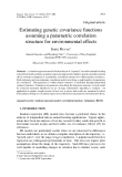 """Báo cáo khoa hoc:""""  Estimating genetic covariance functions assuming a parametric correlation structure for environmental effects"""""""