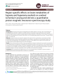 Region-specific effects on brain metabolites of hypoxia and hyperoxia overlaid on cerebral ischemia in young and old rats: a quantitative proton magnetic resonance spectroscopy stud