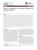 Genetic susceptibility to advanced retinopathy of prematurity (ROP)