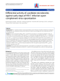 "Báo cáo y học: "" Differential activity of candidate microbicides against early steps of HIV-1 infection upon complement virus opsonizatio"""