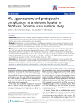 """Báo cáo y học: """"HIV, appendectomy and postoperative complications at a reference hospital in Northwest Tanzania: cross-sectional study"""""""