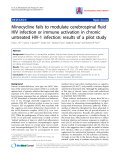 "Báo cáo y học: ""Minocycline fails to modulate cerebrospinal fluid HIV infection or immune activation in chronic untreated HIV-1 infection: results of a pilot stud"""