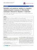 "Báo cáo y học: "" Reliability and predictive validity of a hepatitisrelated symptom inventory in HIV-infected individuals referred for Hepatitis C treatment."""