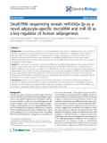 """Báo cáo y học: """"Small RNA sequencing reveals miR-642a-3p as a novel adipocyte-specific microRNA and miR-30 as a key regulator of human adipogenesis"""""""