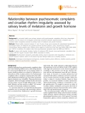 "Báo cáo y học: ""Relationship between psychosomatic complaints and circadian rhythm irregularity assessed by salivary levels of melatonin and growth hormone"""