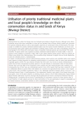 "Báo cáo y học: ""Utilisation of priority traditional medicinal plants and local people's knowledge on their conservation status in arid lands of Kenya (Mwingi District)"""
