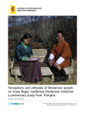 """Báo cáo y học: """"Perceptions and attitudes of bhutanese people on Sowa Rigpa, traditional bhutanese medicine: a preliminary study from Thimphu"""""""