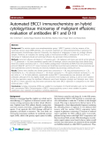 "Báo cáo y học: "" Automated ERCC1 immunochemistry on hybrid cytology/tissue microarray of malignant effusions: evaluation of antibodies 8F1 and D-10."""