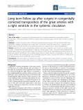 """Báo cáo y học: """"Long term follow up after surgery in congenitally corrected transposition of the great arteries with a right ventricle in the systemic circulation"""""""