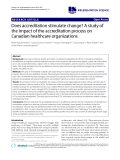 """báo cáo khoa học: """"Does accreditation stimulate change? A study of the impact of the accreditation process on Canadian healthcare organizations"""""""
