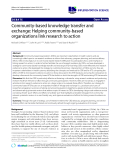 """báo cáo khoa học: """" Community-based knowledge transfer and exchange: Helping community-based organizations link research to action"""""""