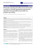 """báo cáo khoa học: """" Pilot study evaluating the effects of an intervention to enhance culturally appropriate hypertension education among healthcare providers in a primary care setting"""""""