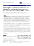 "báo cáo khoa học: "" Improving the care for people with acute lowback pain by allied health professionals (the ALIGN trial): A cluster randomised trial protocol"""