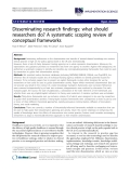 """báo cáo khoa học: """" Disseminating research findings: what should researchers do? A systematic scoping review of conceptual frameworks"""""""