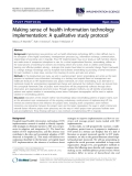 "báo cáo khoa học: "" Making sense of health information technology implementation: A qualitative study protocol"""