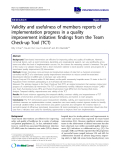 """báo cáo khoa học: """" Validity and usefulness of members reports of implementation progress in a quality improvement initiative: findings from the Team Check-up Tool (TCT)"""""""