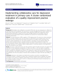 "báo cáo khoa học: "" Implementing collaborative care for depression treatment in primary care: A cluster randomized evaluation of a quality improvement practice redesign"""