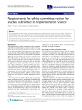 """báo cáo khoa học: """" Requirements for ethics committee review for studies submitted to Implementation Science"""""""
