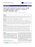 "báo cáo khoa học: "" Community capacity to acquire, assess, adapt, and apply research evidence: a survey of Ontario's HIV/AIDS sector"""