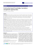 "báo cáo khoa học: ""Community-based knowledge translation: unexplored opportunities"""