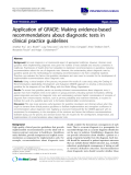 """báo cáo khoa học: """"Application of GRADE: Making evidence-based recommendations about diagnostic tests in clinical practice guidelines"""""""