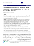 "báo cáo khoa học: "" Collaborations for Leadership in Applied Health Research and Care: lessons from the theory of communities of practice"""