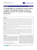 "báo cáo khoa học: ""The applicability of normalisation process theory to speech and language therapy: a review of qualitative research on a speech and language intervention"""