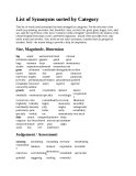 List of Synonyms sorted by Category