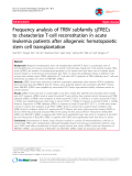 "Báo cáo y học: ""Frequency analysis of TRBV subfamily sjTRECs to characterize T-cell reconstitution in acute leukemia patients after allogeneic hematopoietic stem cell transplantation"""