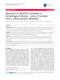"Báo cáo y học: "" Relevance of JAK2V617F positivity to hematological diseases - survey of samples from a clinical genetics laboratory"""