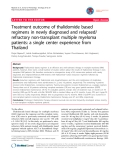"""báo cáo khoa học: """"Treatment outcome of thalidomide based regimens in newly diagnosed and relapsed/ refractory non-transplant multiple myeloma patients: a single center experience from Thailand"""""""