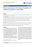"báo cáo khoa học: ""Phrenic nerve block with ultrasound-guidance for treatment of hiccups: a case report"""