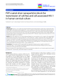 "báo cáo khoa học: ""PVP-coated silver nanoparticles block the transmission of cell-free and cell-associated HIV-1 in human cervical culture"""