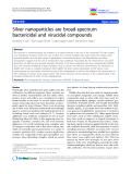 """báo cáo khoa học: """" Silver nanoparticles are broad-spectrum bactericidal and virucidal compounds"""""""