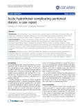 "báo cáo khoa học: ""Acute hydrothorax complicating peritoneal dialysis: a case report"""