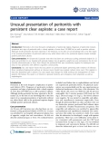 """báo cáo khoa học: """"Unusual presentation of peritonitis with persistent clear aspirate: a case report"""""""