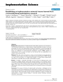 """Báo cáo y học: """"Establishing an implementation network: lessons learned from community-based participatory research"""""""