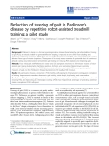 """Báo cáo khoa hoc:""""  Reduction of freezing of gait in Parkinson's disease by repetitive robot-assisted treadmill training: a pilot study"""""""