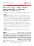 "Báo cáo y học: ""Arthrogenicity of type II collagen monoclonal antibodies associated with complement activation and antigen affini"""