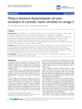 "Báo cáo khoa hoc:""  Physico-chemical characterization of nanoemulsions in cosmetic matrix enriched on omega-3"""