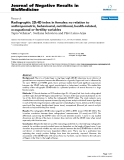 """Báo cáo khoa hoc:""""  Radiographic 2D:4D index in females: no relation to anthropometric, behavioural, nutritional, health-related, occupational or fertility variables"""""""