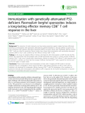 "Báo cáo y học: ""Immunization with genetically attenuated P52deficient Plasmodium berghei sporozoites induces a long-lasting"""