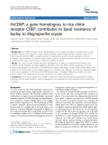 "báo cáo khoa học: "" HvCEBiP, a gene homologous to rice chitin receptor CEBiP, contributes to basal resistance of barley to Magnaporthe oryzae"""
