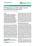 "báo cáo khoa học: ""  ABO blood group and other genetic variants associated with pancreatic cancer"""