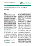 "báo cáo khoa học: "" Genomic risk factors in sudden infant death syndrome"""