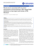 """Báo cáo y học: """" Renal cancer associated with recurrent spontaneous pneumothorax in Birt-Hogg-Dubé syndrome: a case report and review of the literature"""""""